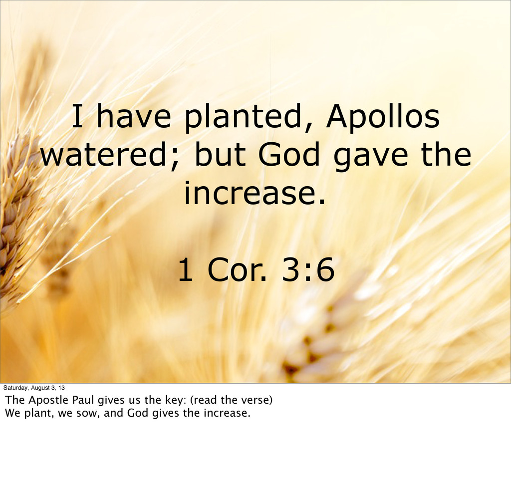 I have planted, Apollos watered; but God gave t...