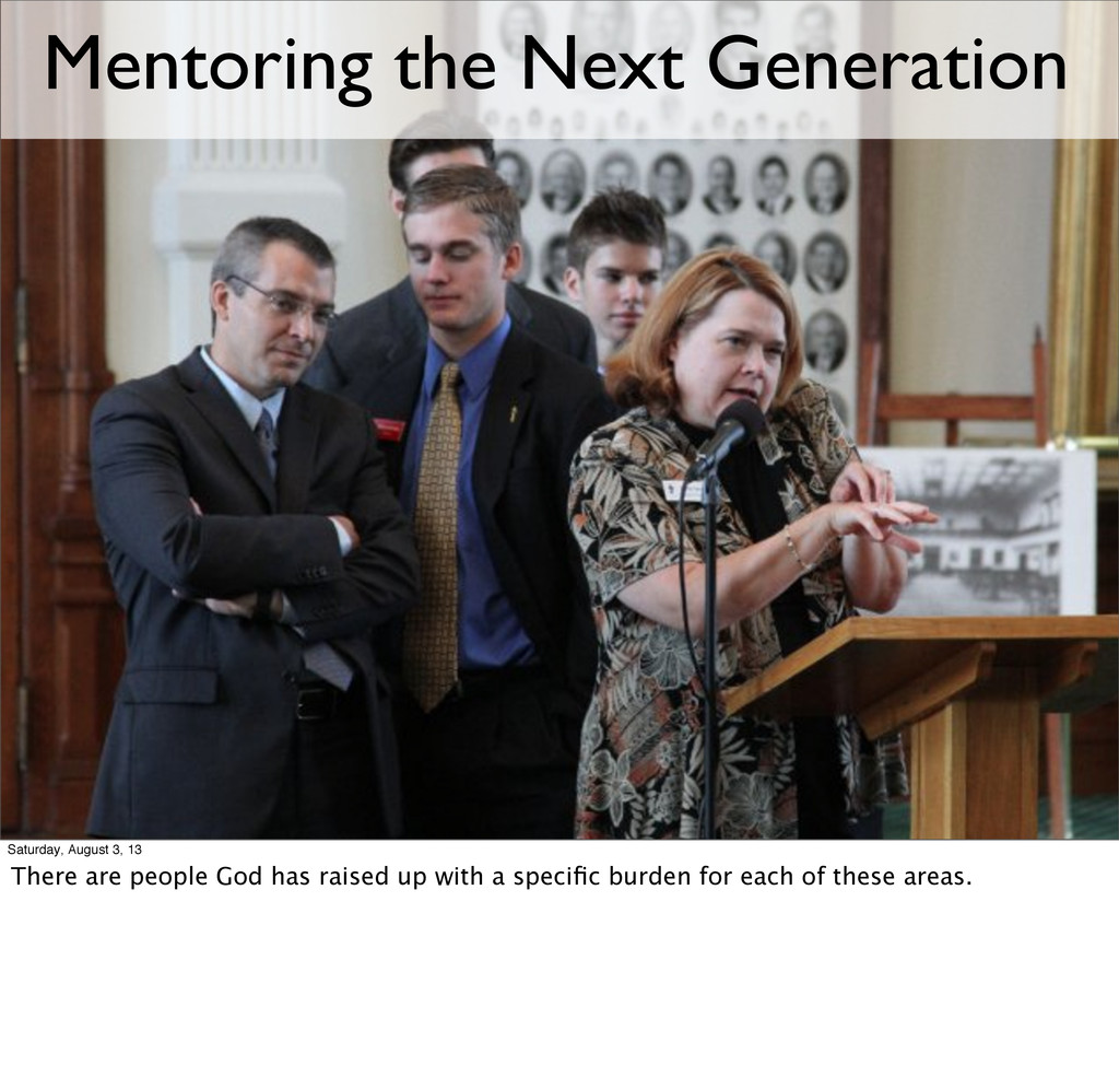 Mentoring the Next Generation Saturday, August ...