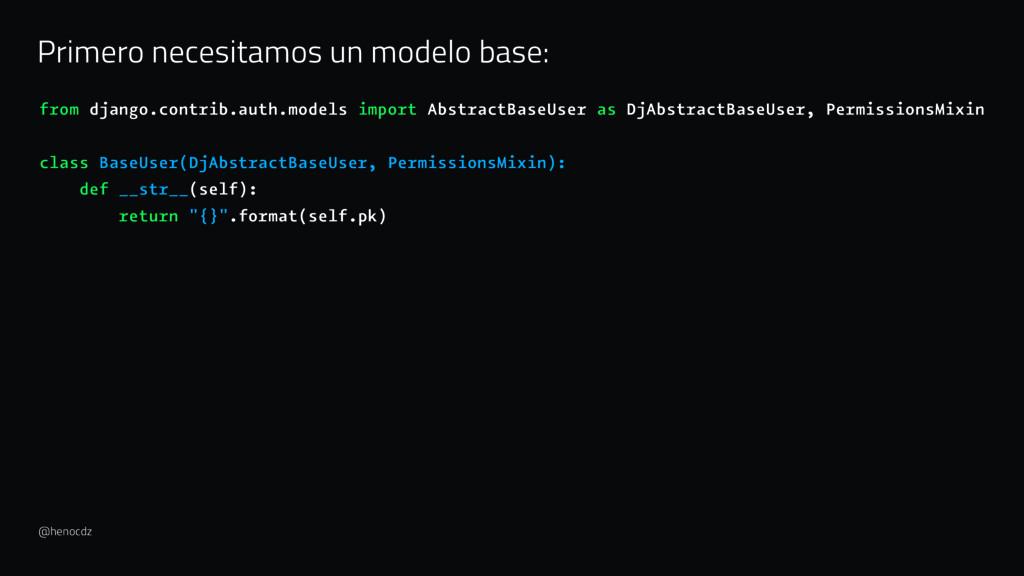 Primero necesitamos un modelo base: from django...