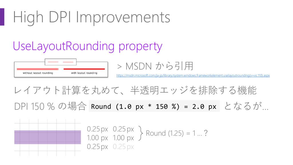 High DPI Improvements UseLayoutRounding propert...