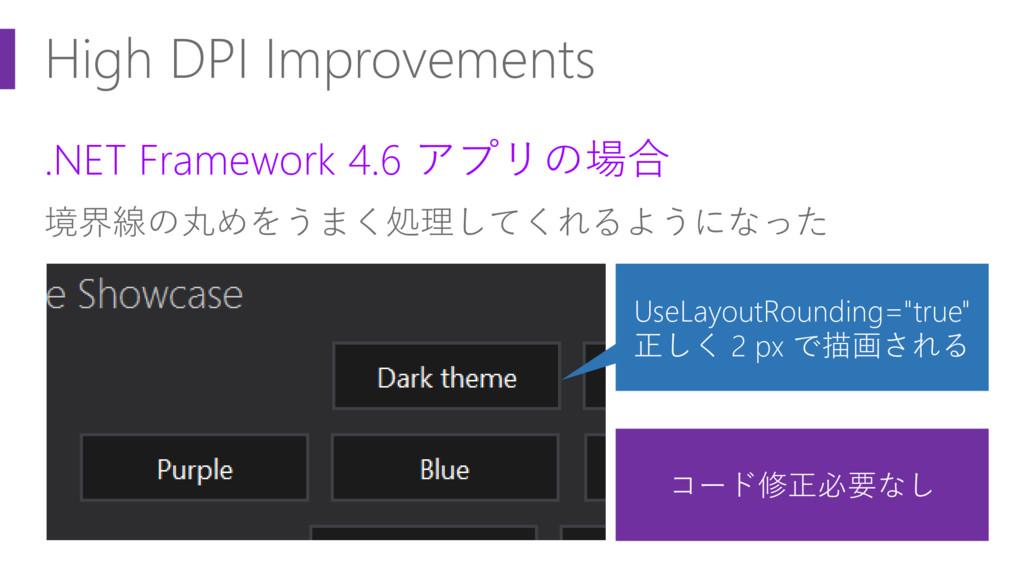High DPI Improvements .NET Framework 4.6 アプリの場合...