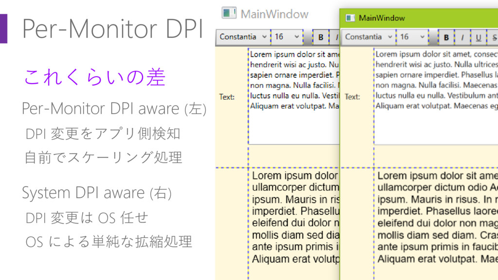 Per-Monitor DPI これくらいの差 Per-Monitor DPI aware (...