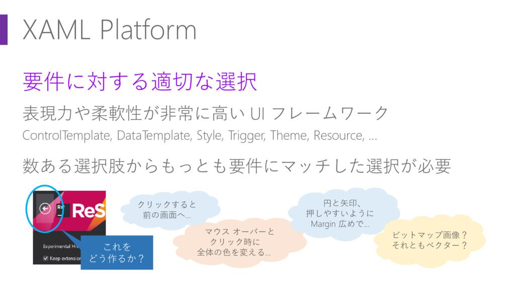 XAML Platform 要件に対する適切な選択 表現力や柔軟性が非常に高い UI フレーム...