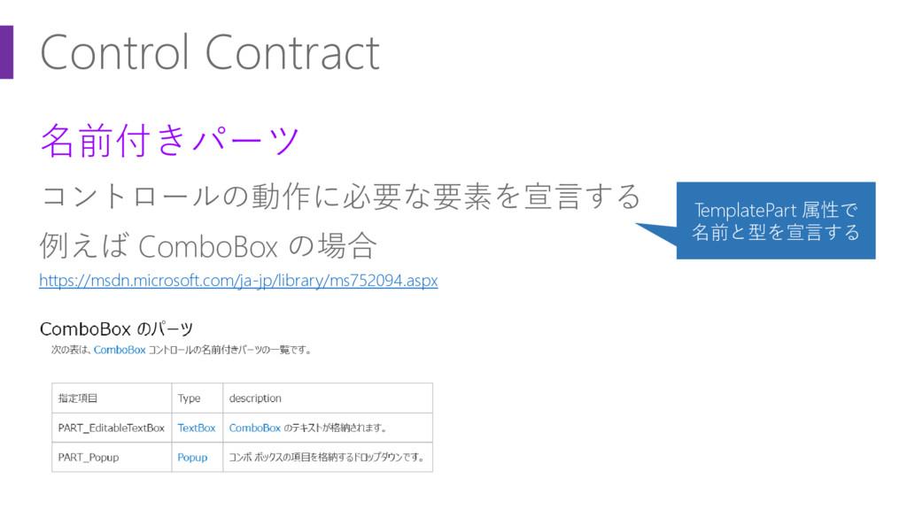 Control Contract 名前付きパーツ コントロールの動作に必要な要素を宣言する 例...