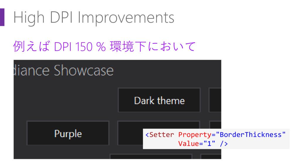 High DPI Improvements 例えば DPI 150 % 環境下において <Se...