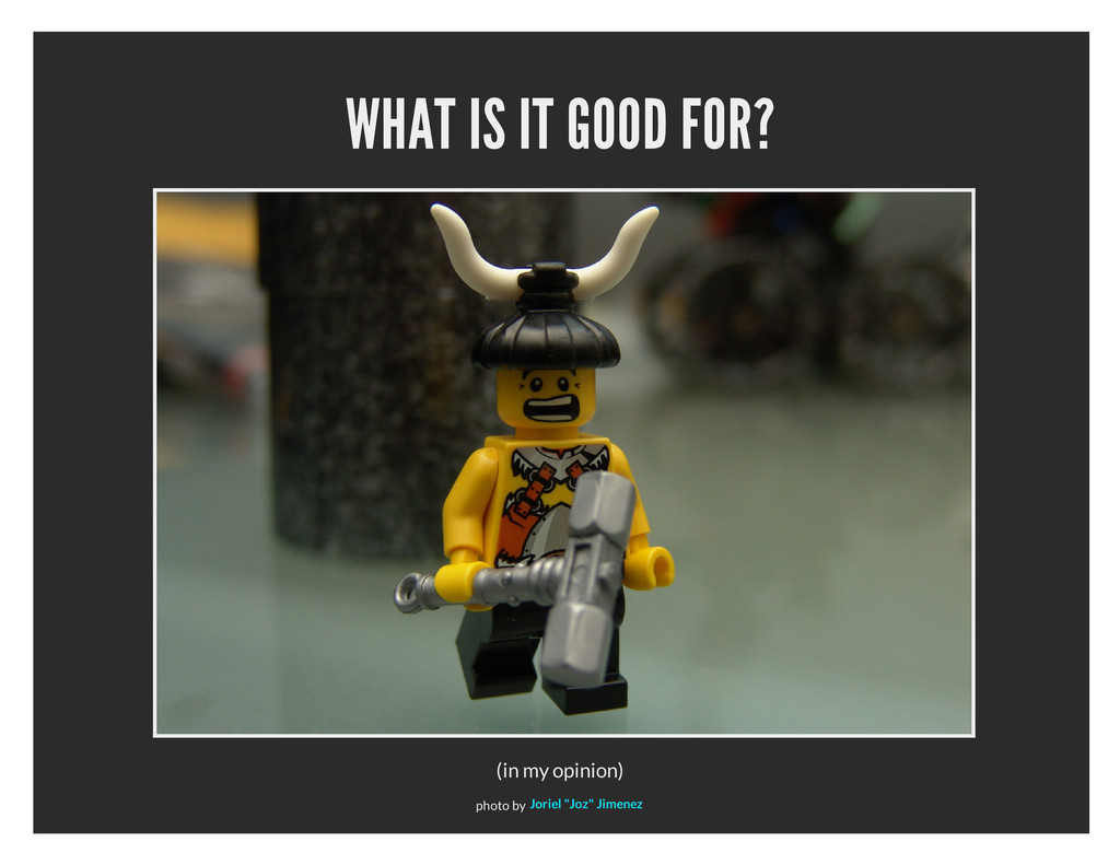 WHAT IS IT GOOD FOR? (in my opinion) photo by J...