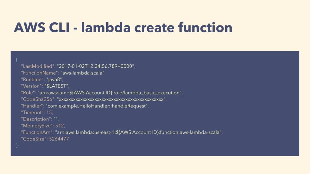 "AWS CLI - lambda create function { ""LastModified..."