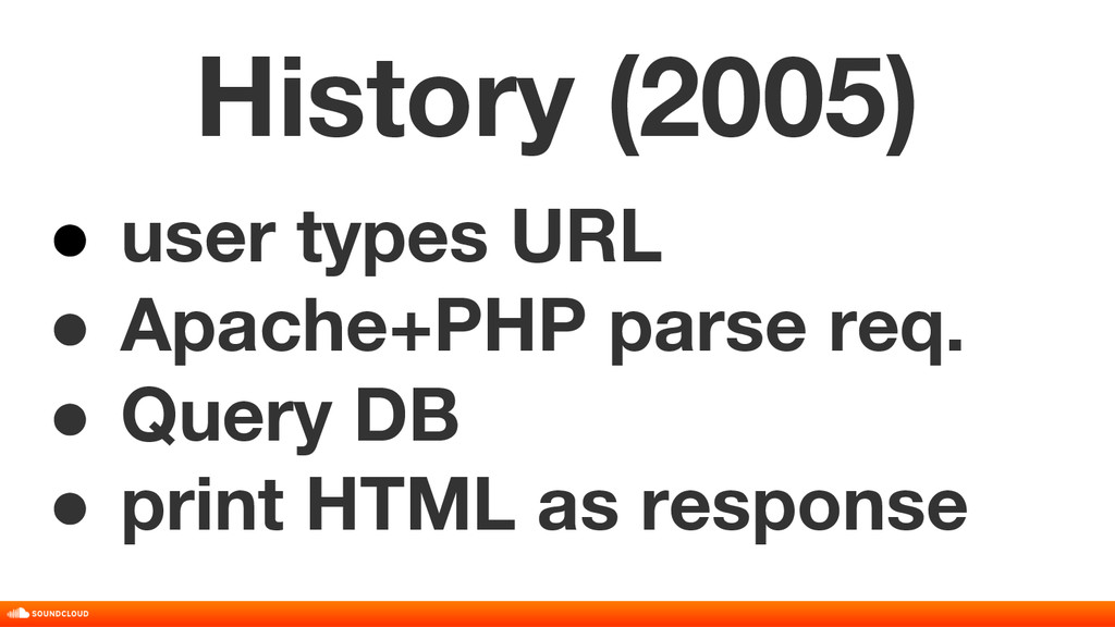 History (2005) ● user types URL ● Apache+PHP pa...