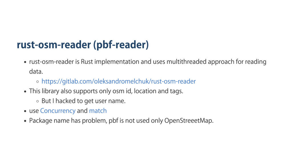 rust‑osm‑reader (pbf‑reader) rust‑osm‑reader is...