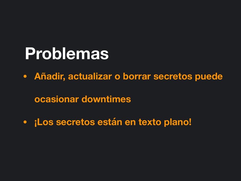 Problemas • Añadir, actualizar o borrar secreto...