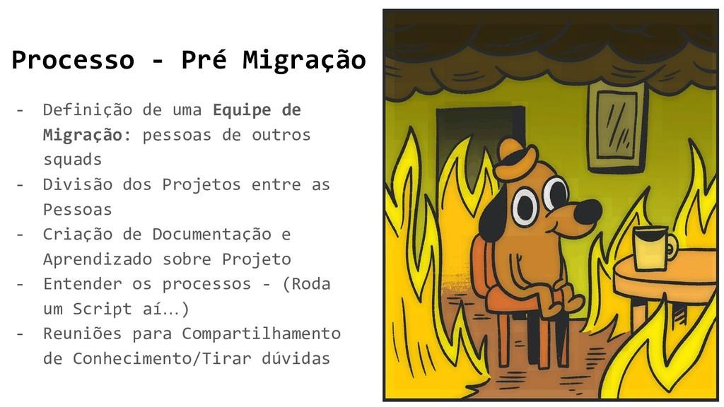 Processo - Pré Migração - Definição de uma Equi...