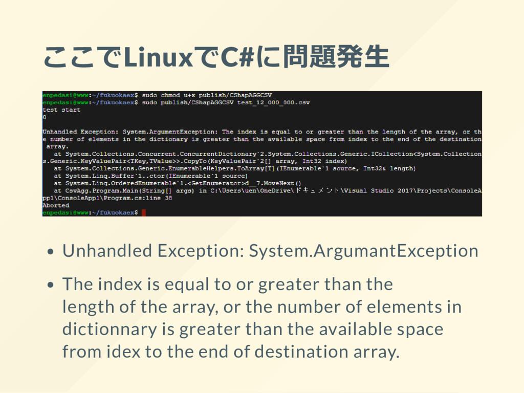 ここでLinuxでC#に問題発生 Unhandled Exception: System.Ar...
