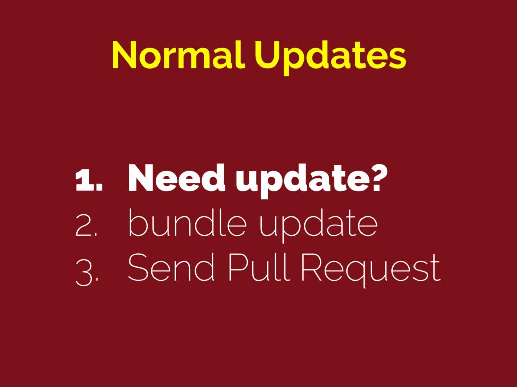 Normal Updates 1. Need update? 2. bundle update...