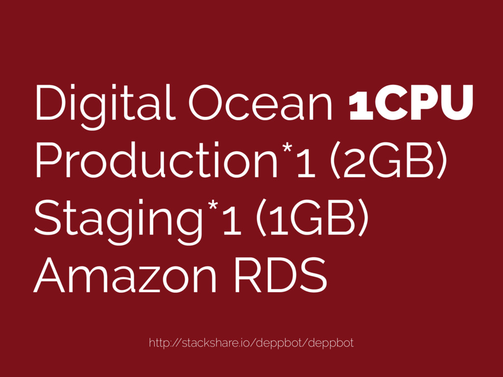 Digital Ocean 1CPU Production*1 (2GB) Staging*1...
