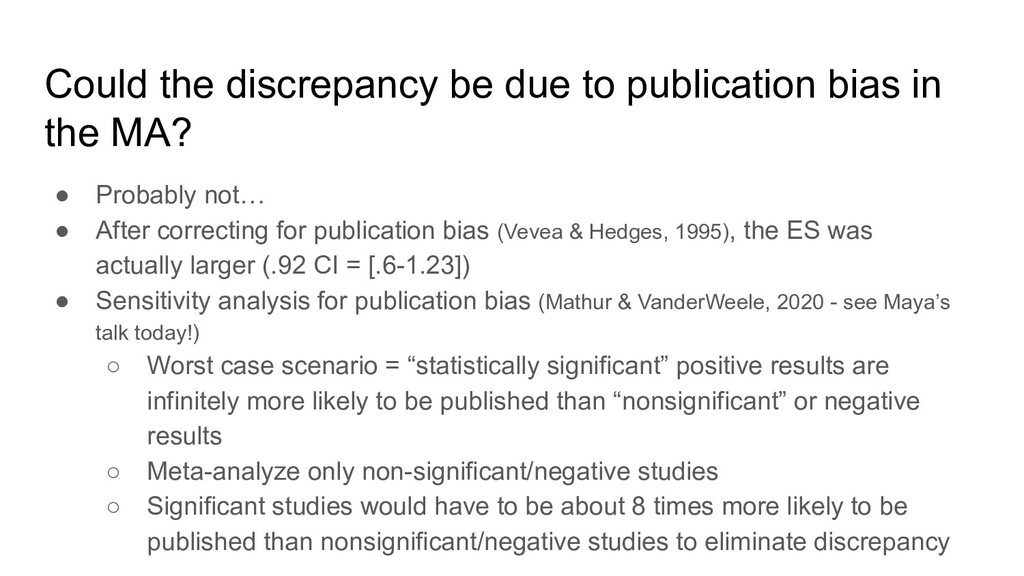 Could the discrepancy be due to publication bia...