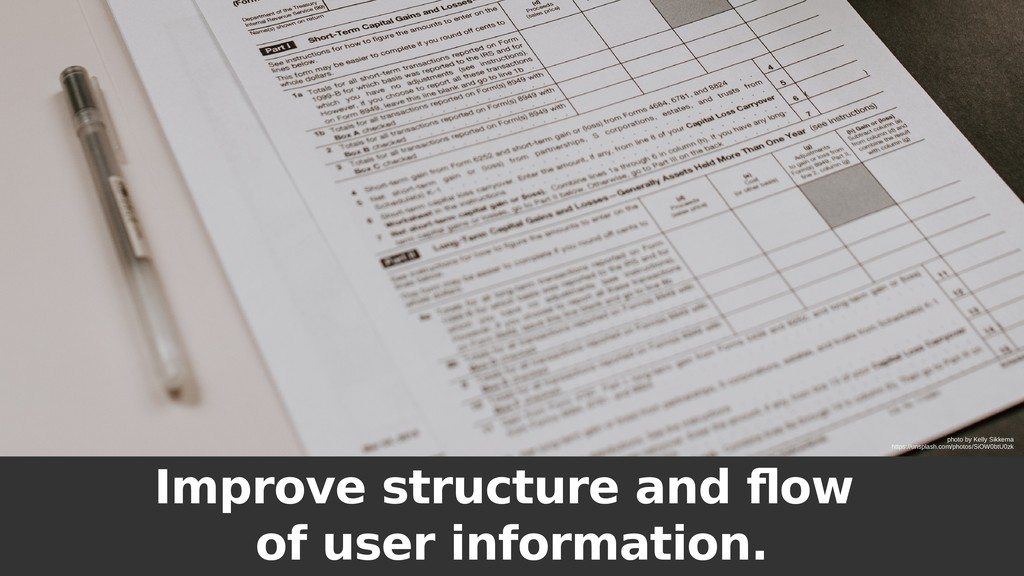 Improve structure and flow of user information....