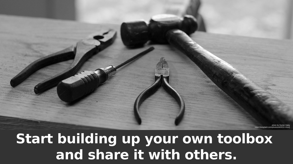 Start building up your own toolbox and share it...