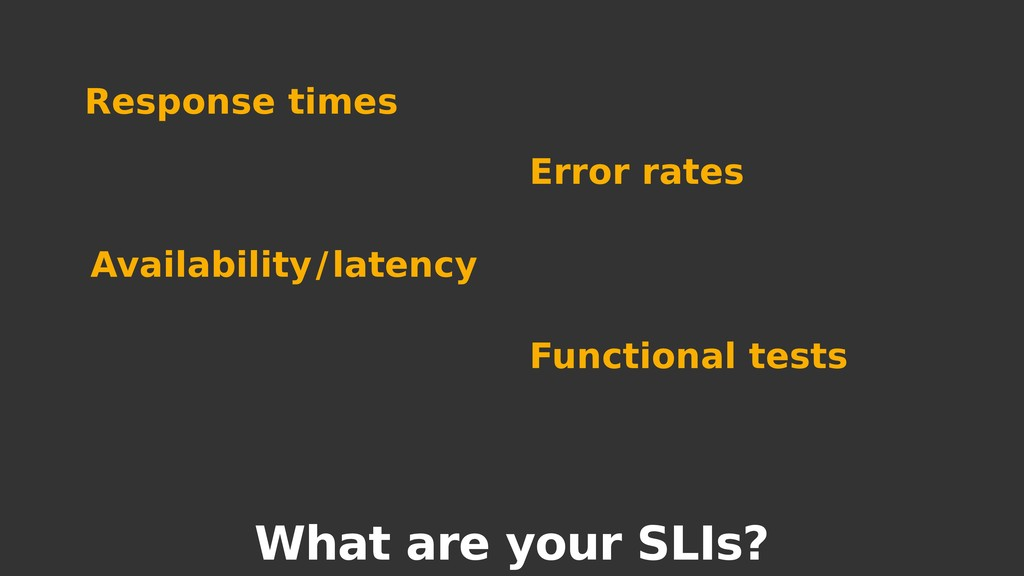 What are your SLIs? Response times Error rates ...