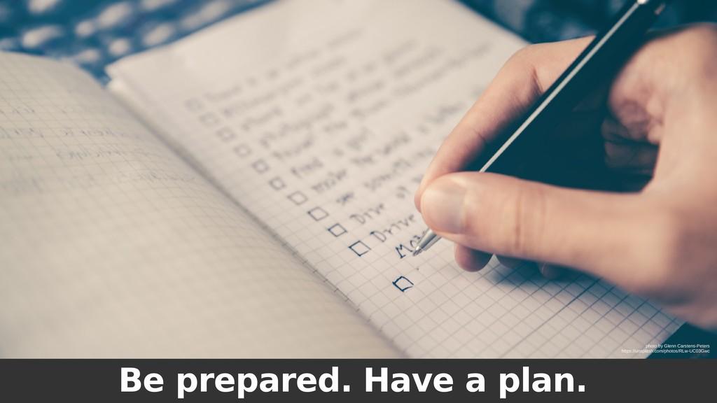 Be prepared. Have a plan. photo by Glenn Carste...