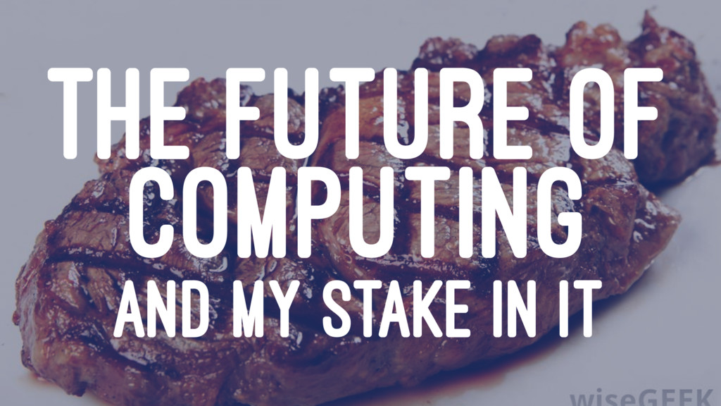 THE FUTURE OF COMPUTING AND MY STAKE IN IT