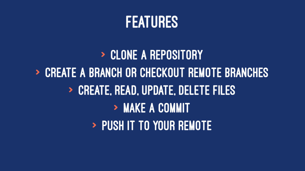 FEATURES > Clone a repository > Create a branch...