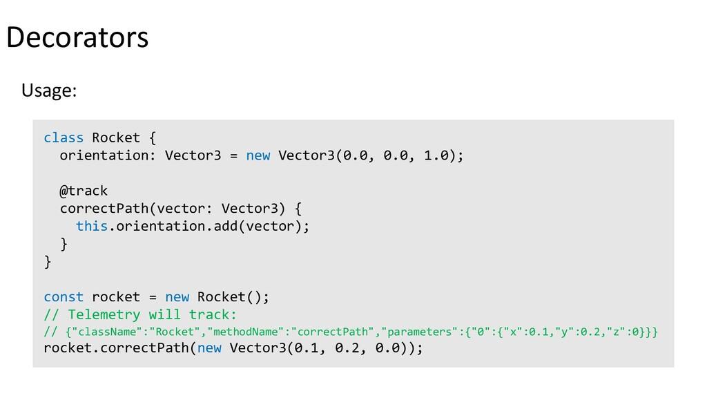 Decorators Usage: class Rocket { orientation: V...