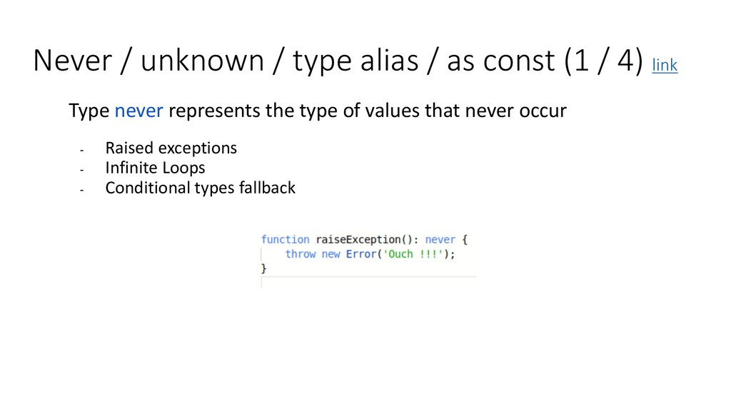Never / unknown / type alias / as const (1 / 4)...