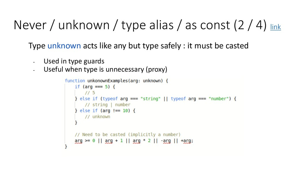 Never / unknown / type alias / as const (2 / 4)...