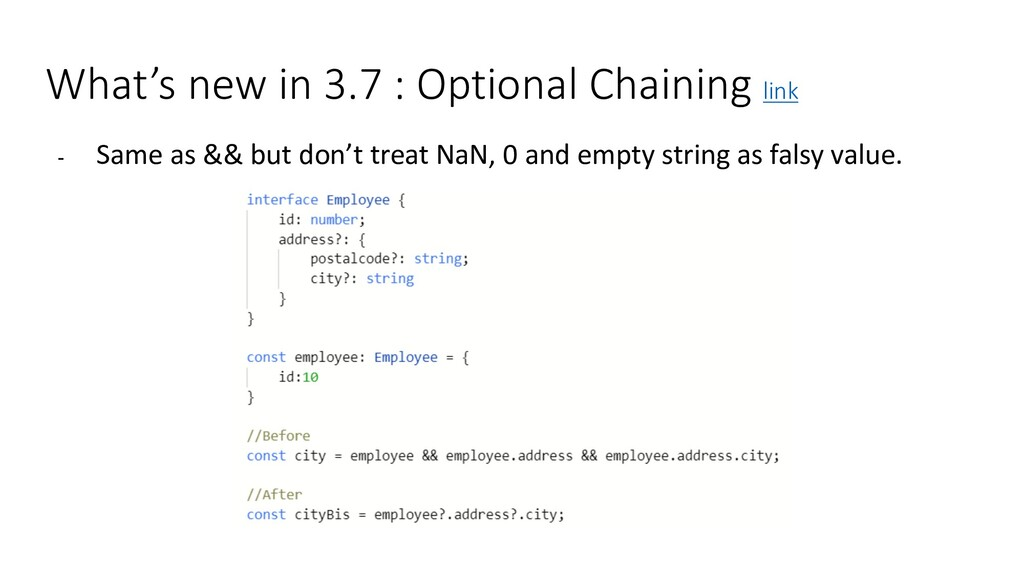 What's new in 3.7 : Optional Chaining link - Sa...