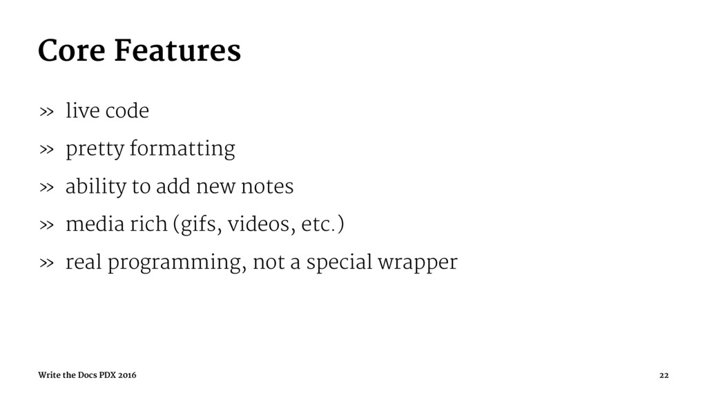 Core Features » live code » pretty formatting »...