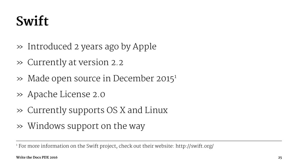 Swift » Introduced 2 years ago by Apple » Curre...