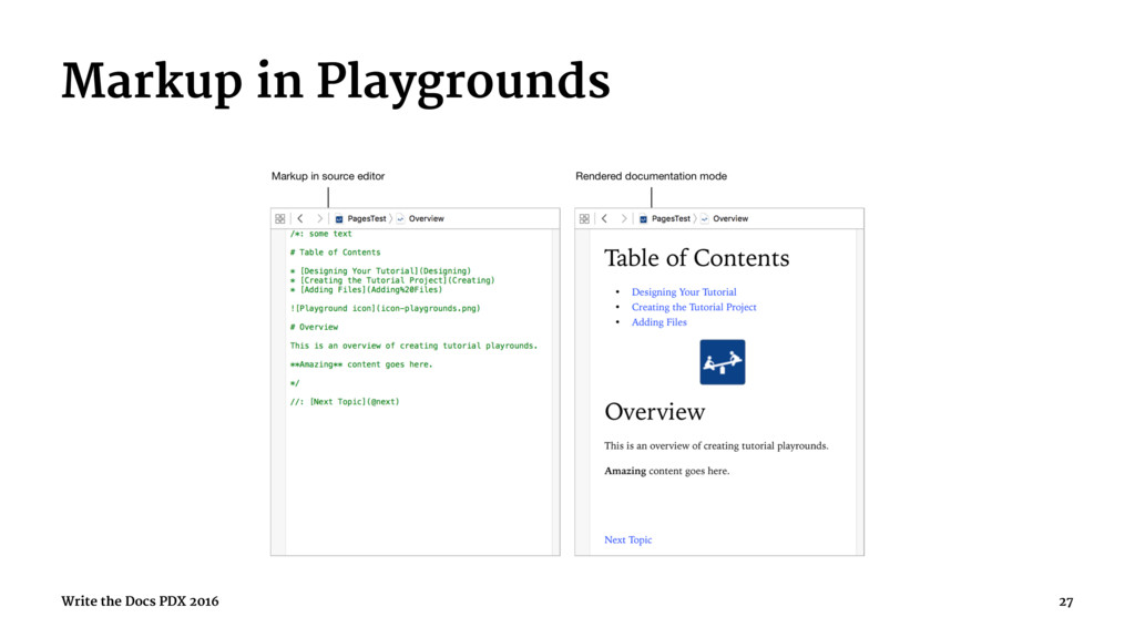 Markup in Playgrounds Write the Docs PDX 2016 27
