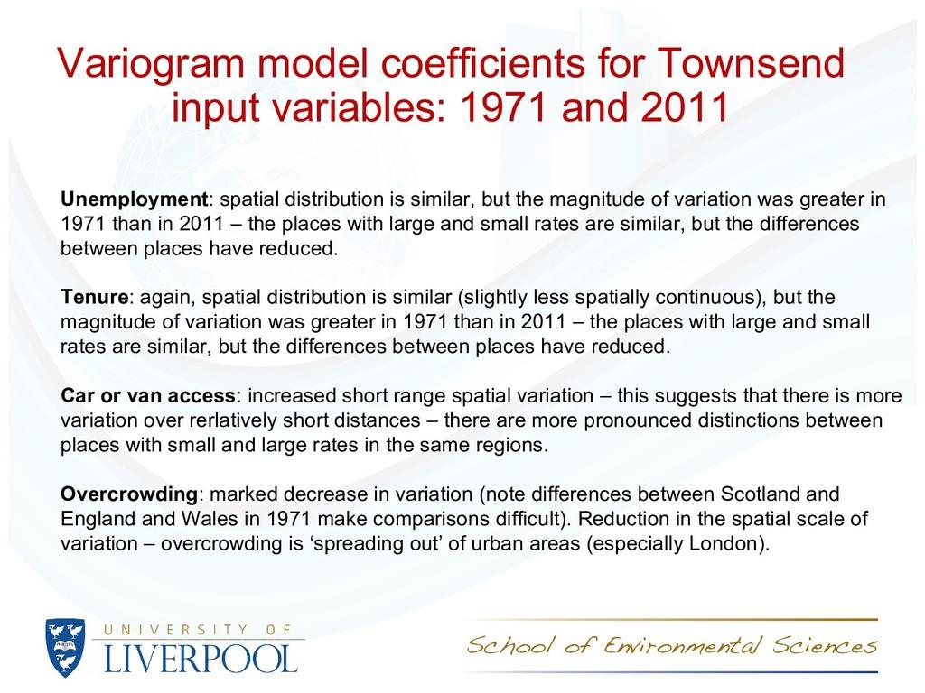 Variogram model coefficients for Townsend input...