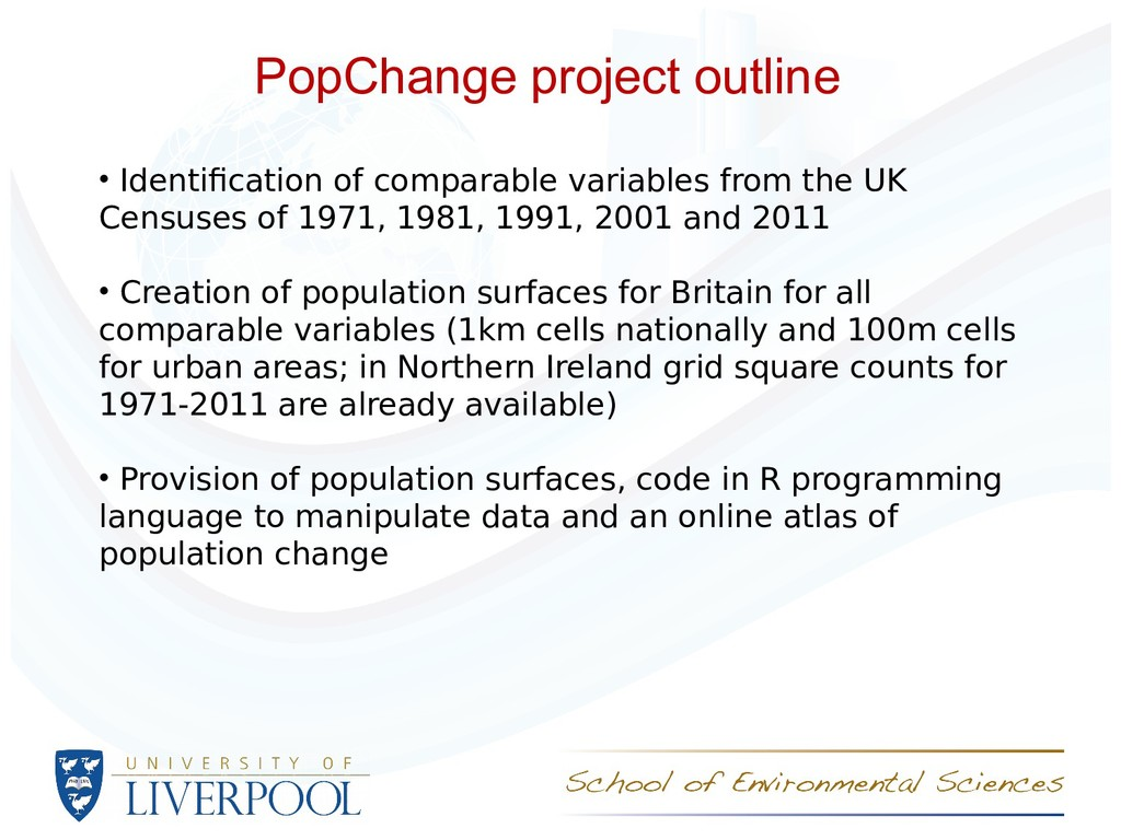 PopChange project outline • Identifcation of co...
