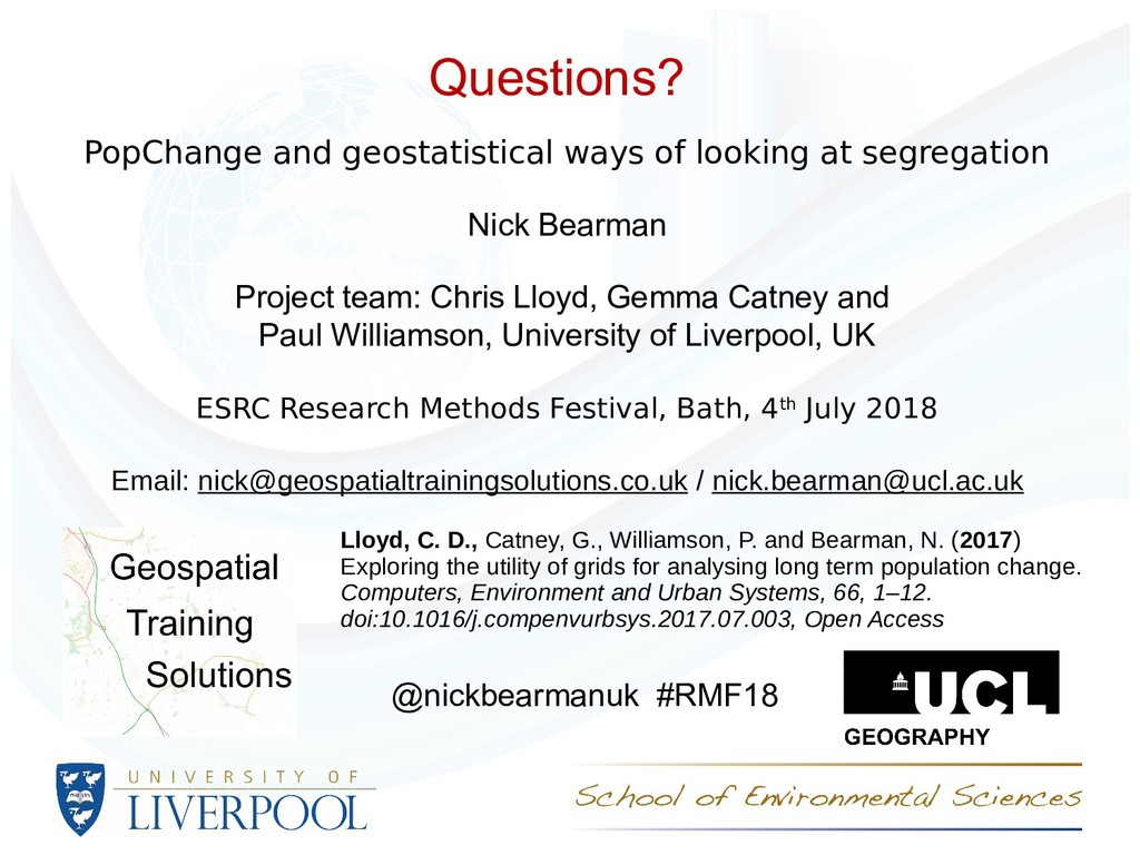 Questions? PopChange and geostatistical ways of...
