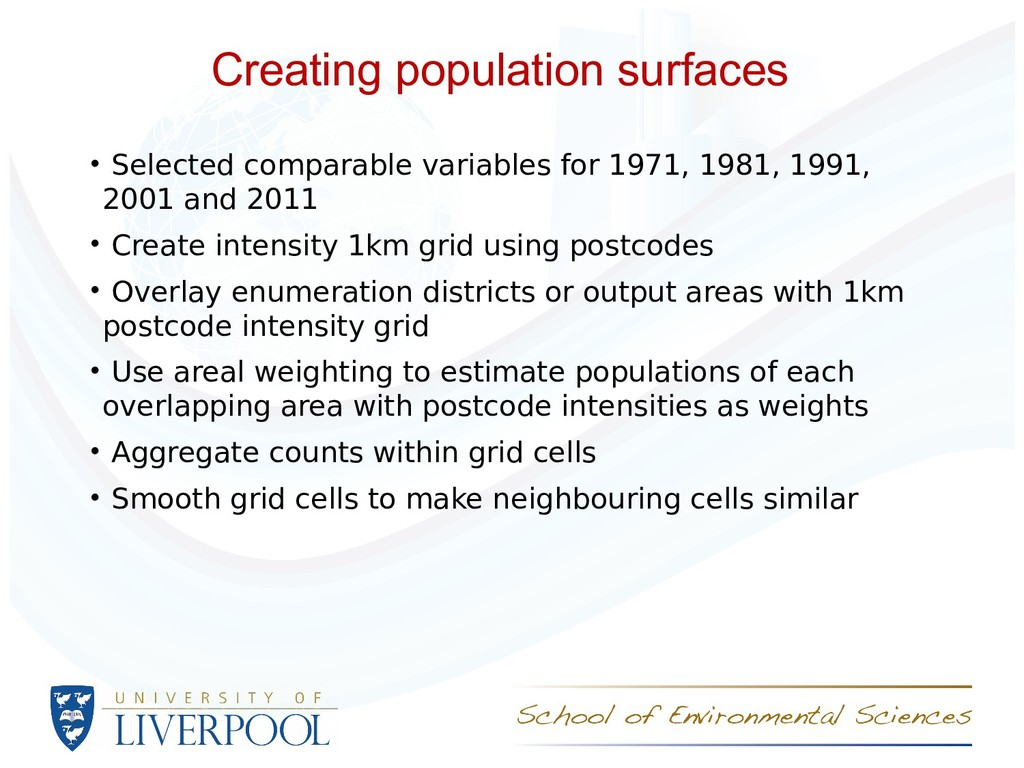 Creating population surfaces • Selected compara...