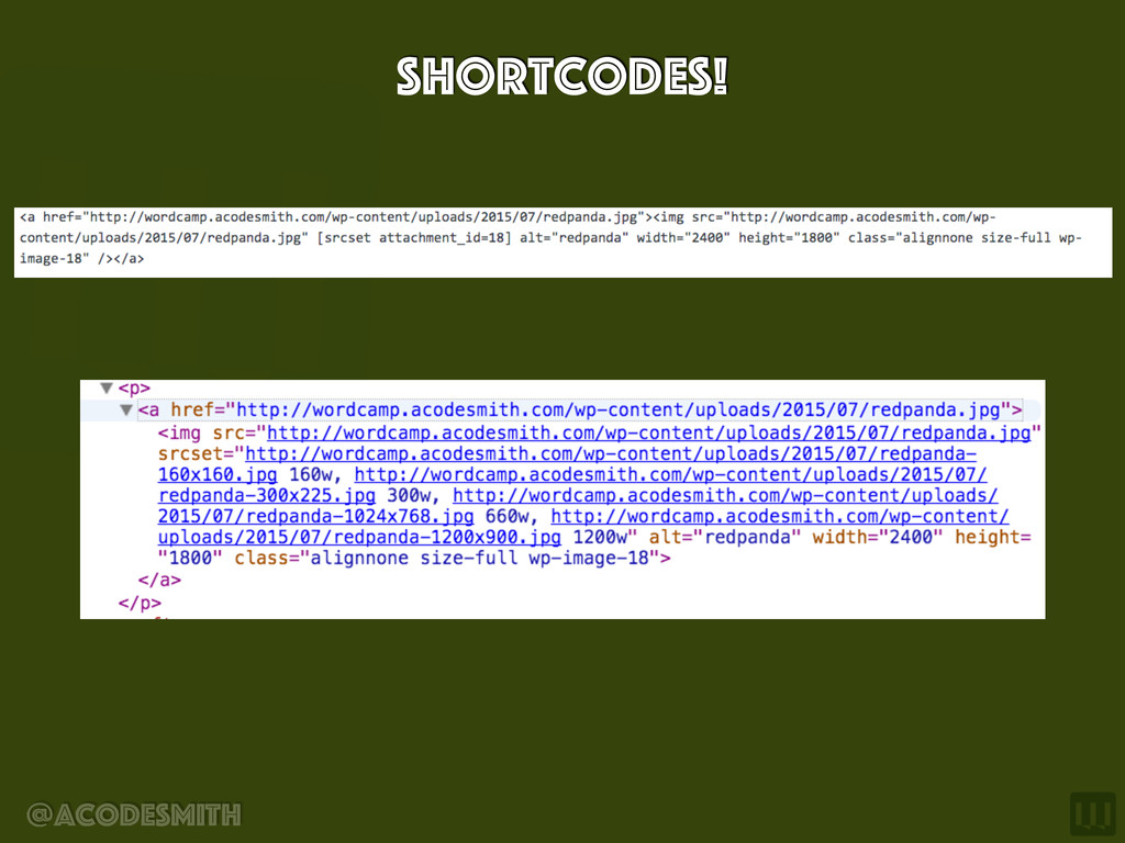 @acodesmith Shortcodes!