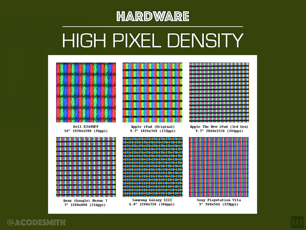 @acodesmith HIGH PIXEL DENSITY hardware