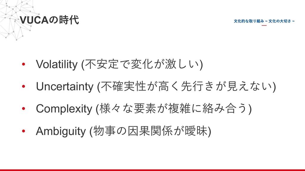 VUCAの時代 • Volatility (不安定で変化が激しい) • Uncertainty...