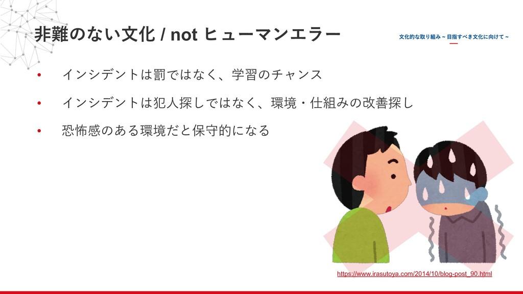 ⾮難のない⽂化 / not ヒューマンエラー • インシデントは罰ではなく、学習のチャンス •...