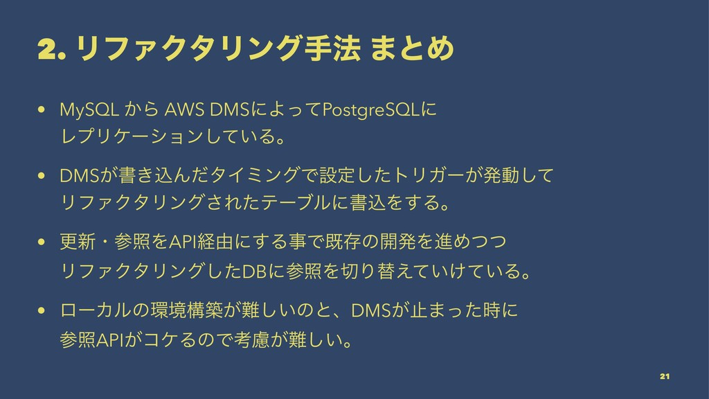 2. ϦϑΝΫλϦϯάख๏ ·ͱΊ • MySQL ͔Β AWS DMSʹΑͬͯPostgre...
