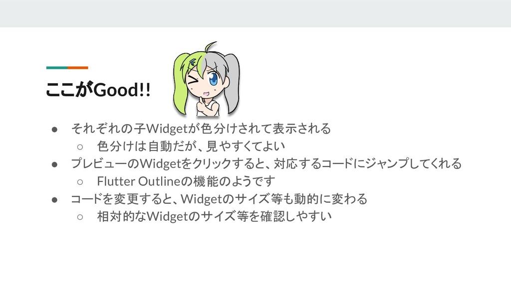 ここがGood!! ● それぞれの子Widgetが色分けされて表示される ○ 色分けは自動だが...