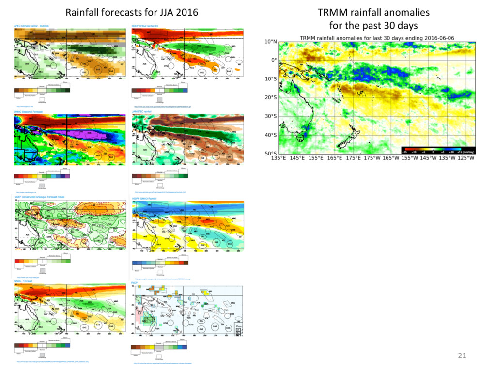 7/06/16 21 TRMM rainfall anomalies for the past...