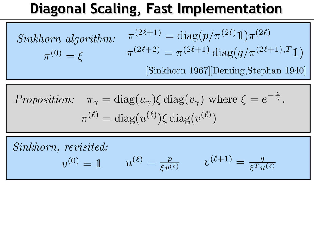 Diagonal Scaling, Fast Implementation Sinkhorn ...