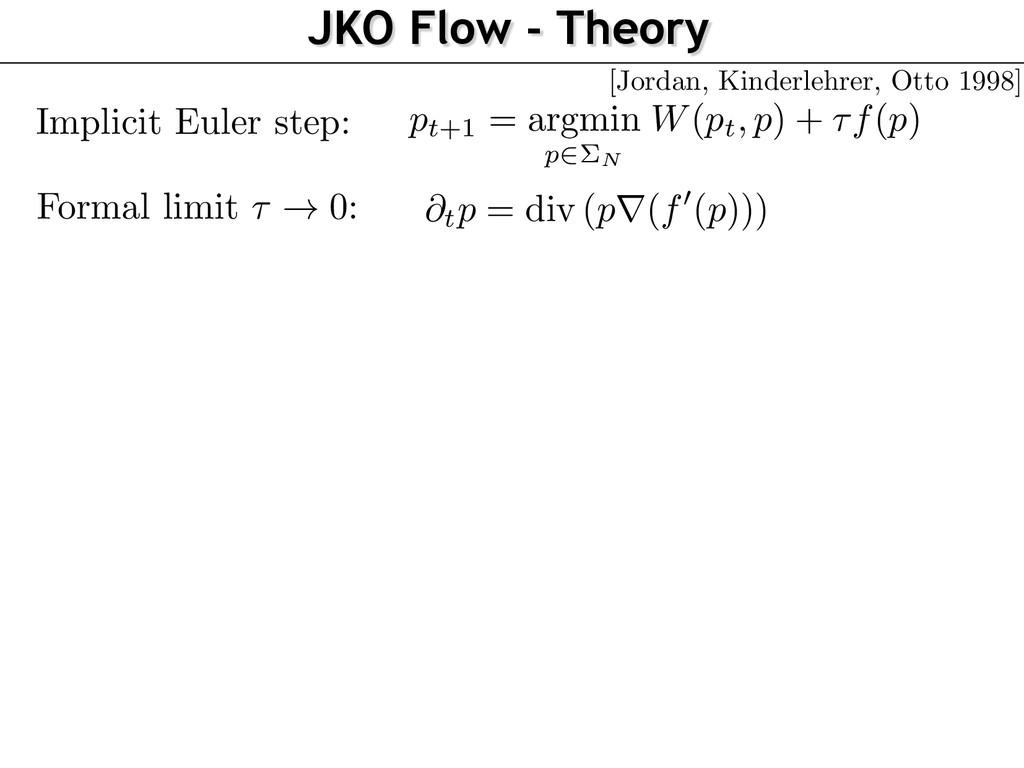 JKO Flow - Theory Implicit Euler step: Formal l...