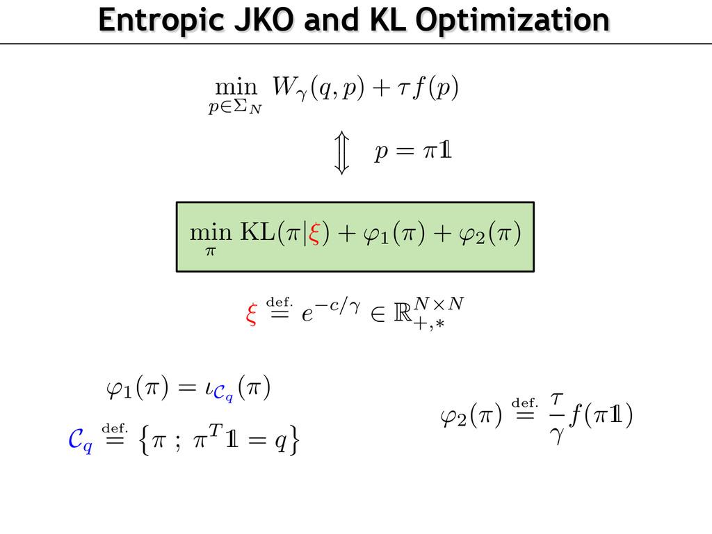 Entropic JKO and KL Optimization min p2⌃N W (q,...