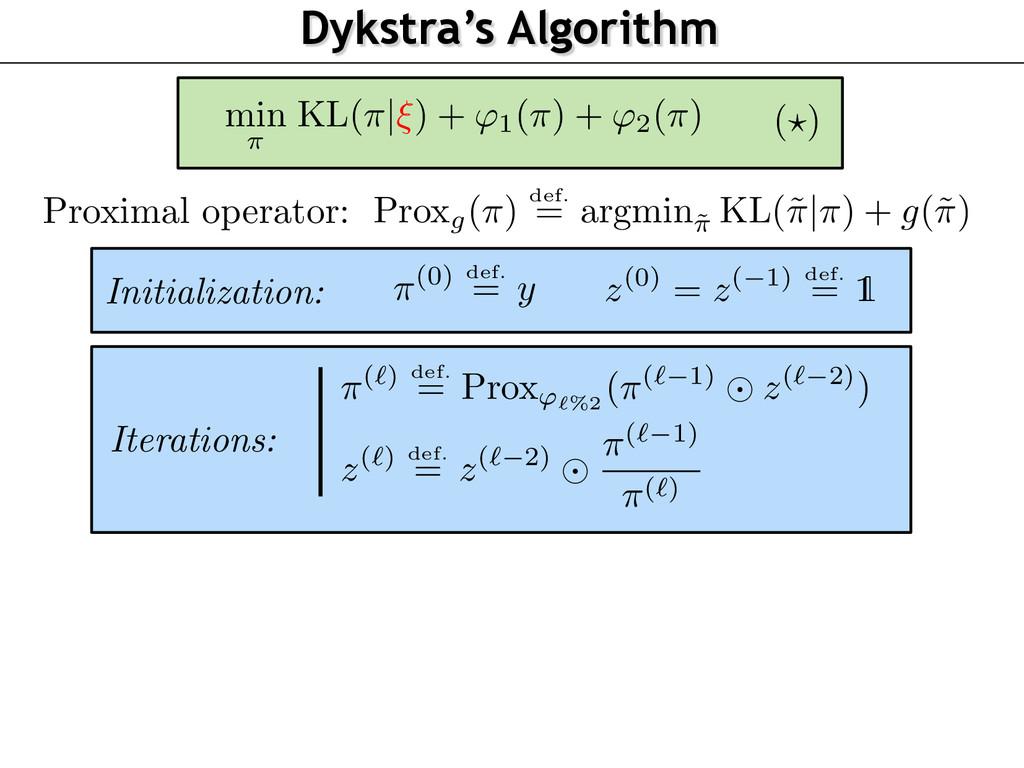 Dykstra's Algorithm z(0) = z( 1) def. = 1 Proxi...