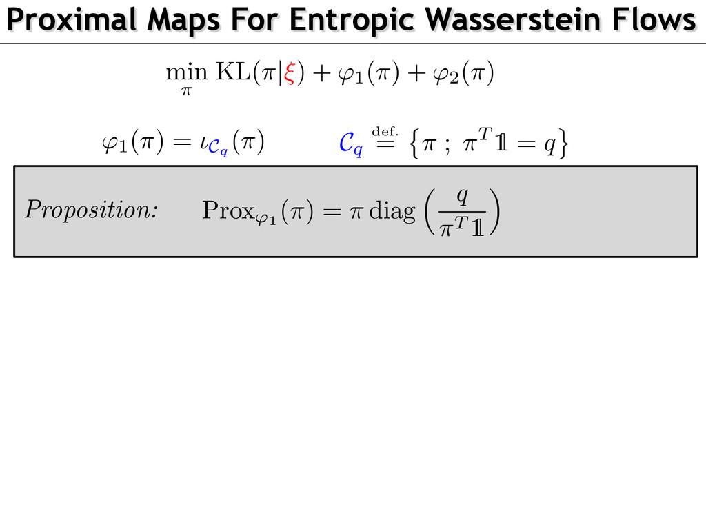 Proximal Maps For Entropic Wasserstein Flows Pr...