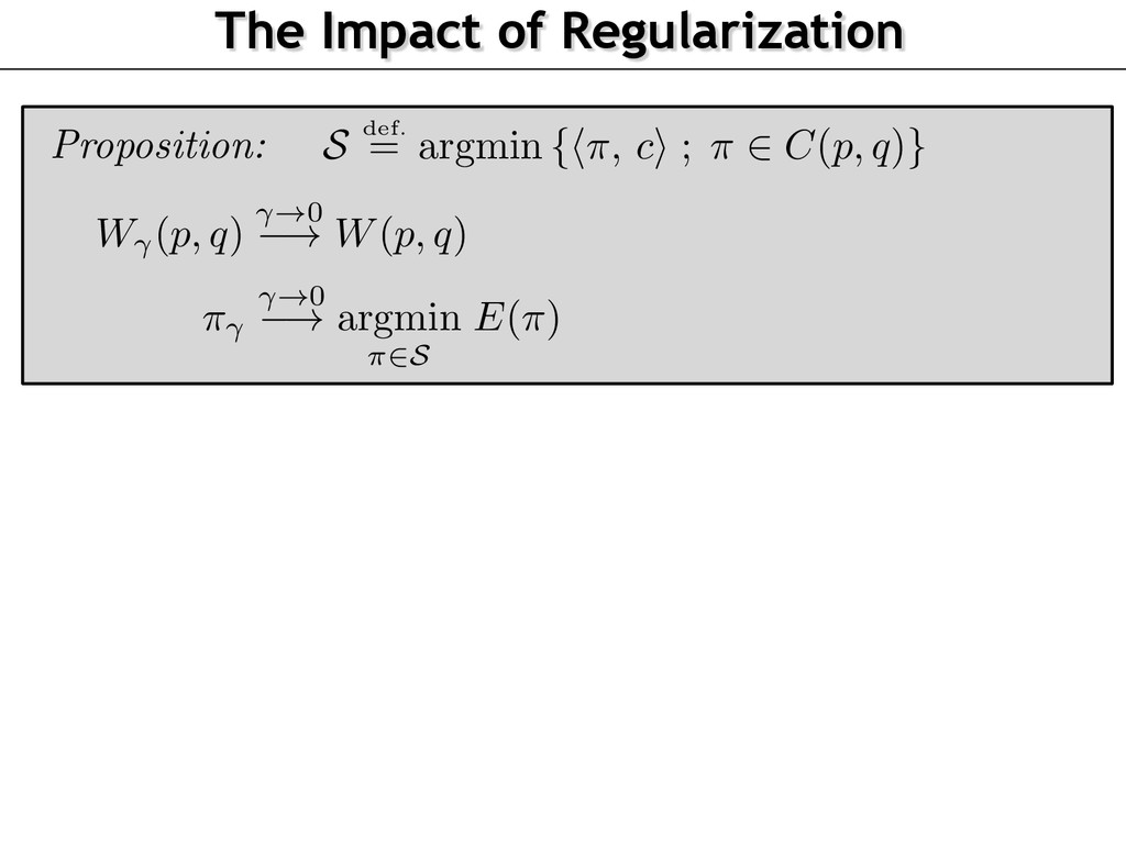 The Impact of Regularization Proposition: ⇡ !0 ...