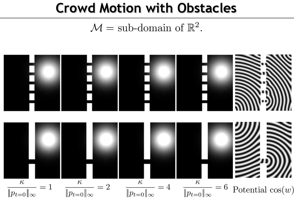 Crowd Motion with Obstacles M = sub-domain of R...
